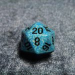Speckled pale sky blue and turquoise blue w/ black numbers